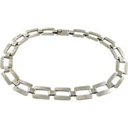 Chunky Vintage Mexican Sterling Silver Gate Necklace - 18 1/2-Inches
