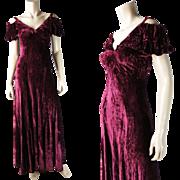 Sultry Vintage 1930's Cranberry Silk Velvet Off-Shoulder Evening Dress