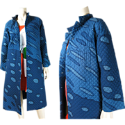 Rare 1960's Vintage Marimekko Long Quilted Coat With Design Research Retailer's Label