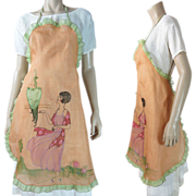 Wonderful Vintage 1920's Art Deco Hostess Apron With Embroidery & Hand Painting