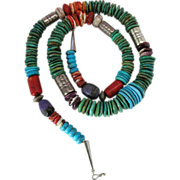 Vintage Santo Domingo Native American Silver, Turquoise, Coral, Spiny Oyster and Charoite Necklace