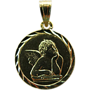 Vintage 14K Gold Guardian Angel Charm