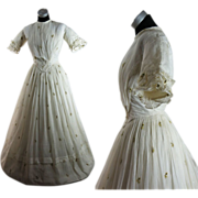 Romantic Antique Circa 1840 Embroidered White Muslin Dress
