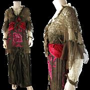 Opulent Antique Circa 1912 Belle Epoque Orientalist Minaret Tunic Evening Gown