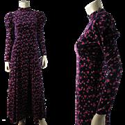 Romantic 1970's Vintage Rose Printed Purple Velvet Dress With Juliet Sleeves