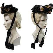 Antique Victorian Beaded And Sequined Silk, Lace And Straw Bonnet With Silk Flower Embellishments