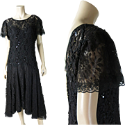 Flirty Vintage 1970's Black Lace And Ribbonwork Dress With Sequins And Original Underdress / Slip