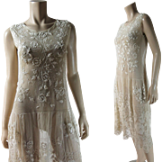 Vintage 1920's Mixed Lace Drop-Waist Dress With Rose Patterns