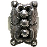 Georg Jensen #62 Rectangular Oak Leaf Ring With 1933 - 1944 Mark