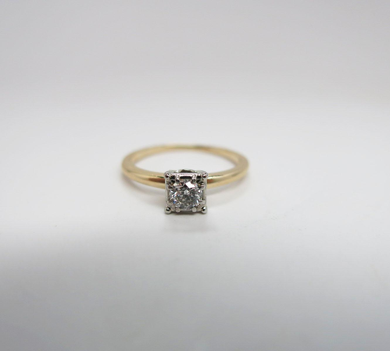 Jabel 14K Yellow Gold 1/3 Carat Diamond Solitaire ...