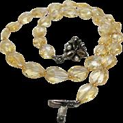 Vintage Sterling Silver Natural Citrine Princess Necklace