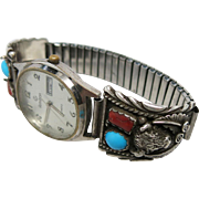 Vintage Signed Navajo Silver, Coral And Turquoise Buffalo Head Watch Tip Bracelet With Running Watch