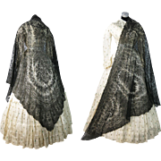 Antique 1860's Victorian Chantilly Lace Shawl - Civil War Era ON LAYAWAY