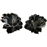Vintage Enameled Sterling Silver Flower Earrings