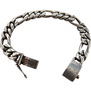 Chunky Vintage Mexican Sterling Silver Figarucci Chain Bracelet 8 1/4-Inches Long
