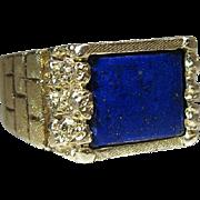 Outstanding Vintage Mens 14K Yellow Gold Lapis Lazuli Ring Size 11