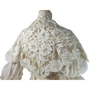 Antique Edwardian White Silk Lace Shawl