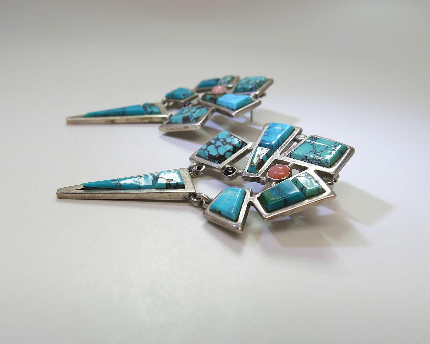 Chic Vintage Zuni Turquoise Tourmaline And Pink Opal