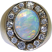 Antique Victorian 14K Yellow Gold, Fine Opal And Diamond Ring