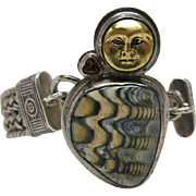 Vintage 1970's Tabra Sterling Silver Connector Bracelet With Gemstone And Moon-Face Charm