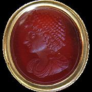 Fine Antique Georgian 18K Gold Carved Carnelian Intaglio Seal / Fob