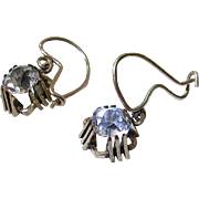 Charming Antique Paste Solitaire Kidney Wire Earrings