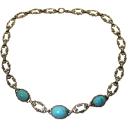 Elegant Vintage Sterling Silver Vermeil And Persian Turquoise Rococo Necklace