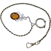 Antique Austro-Hungarian Rope Style Watch Chain With Fob, Swivel Clip And 3/4-Inch Bolt / Spring Ring