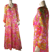 Gossamer 1970's Vintage Silk Chiffon Dress With Full Underdress And Bell Sleeves