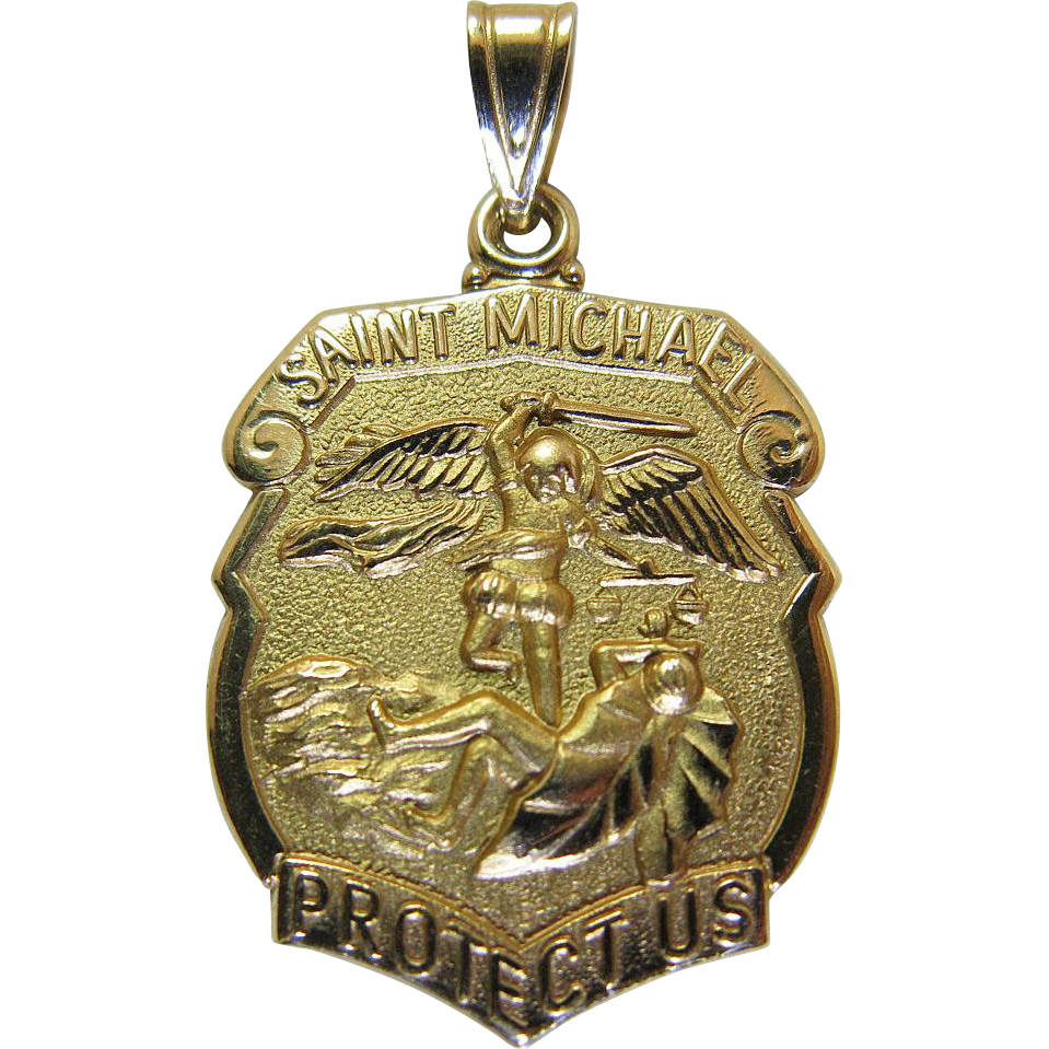 Vintage 14k yellow gold saint michael medal pendant charm 46 vintage 14k yellow gold saint michael medal pendant charm 46 grams marzilli vintage ruby lane mozeypictures Choice Image