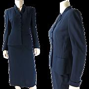1950's Vintage Henri Bendel Navy Blue Wool Skirt Suit