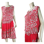 Exceptional 1920's Vintage Beaded Fuchsia Pink Silk Dress With Full Lamé Brocade Underdress