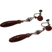 Elegant 2 1/2-Inch Long Antique Circa 1910 Sterling Silver And Art Glass Dangle Earrings