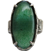 Vintage Brutalist Sterling Silver And Aventurine Ring Size 8.5