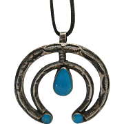 Vintage Native American Silver And Fine Turquoise Naja Pendant Necklace From Bell Trading Company