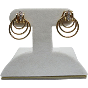 Vintage 14K Yellow Gold And Diamond Post Earrings