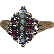 Antique Victorian 14K Gold Natural Ruby And Seed Pearl Ring
