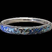 Antique Chinese Enameled Silver Bangle Bracelet - Signed