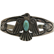 Vintage Navajo Ingot Coin Silver And Turquoise Thunderbird Cuff Bracelet
