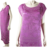 Vivid 1920's Vintage Micro-Beaded Cerise Pink Silk Dress In Larger Size