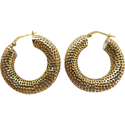 Vintage Hammered 14K Yellow Gold Hoop Earrings - 1 1/8-Inches