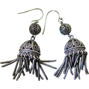 Vintage 2 1/4-Inch Silver Filigree Fringe Earrings
