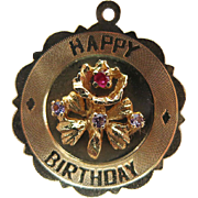 Larger 1960's Vintage Jeweled 14K Yellow Gold Happy Birthday Charm / Pendant