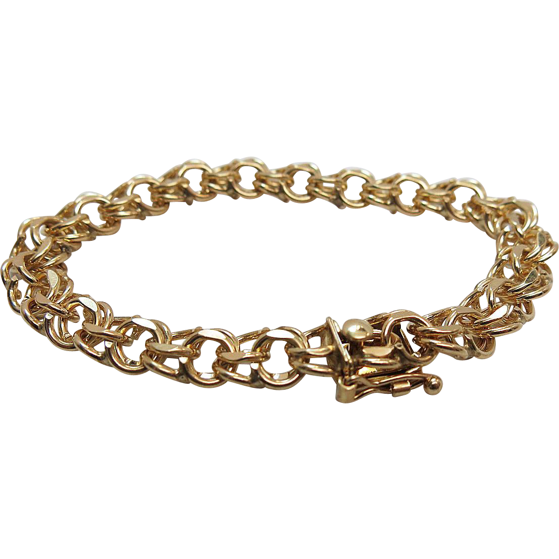 14k Yellow Gold Charm Bracelet: 1960's Vintage Heavy 14K Yellow Gold Double Curb Link