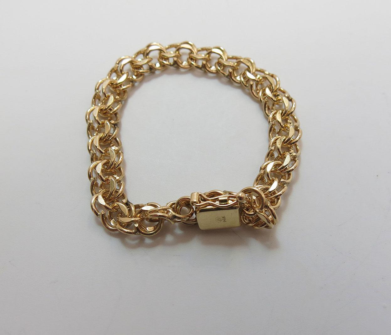 Vintage 14k Gold Charm Bracelet: 1960's Vintage Heavy 14K Yellow Gold Double Curb Link