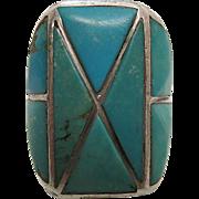 Chunky Circa 1940 Vintage Zuni Inlaid Turquoise Ring Size 10 3/4 - 23 Grams