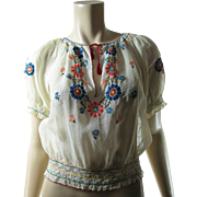 1920's Vintage Hungarian / Bohemian Embroidered And Smocked Cotton Peasant Blouse