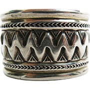 Exceptional And Massive 162 Gram Vintage Navajo Sterling Silver Cuff Bracelet - Signed