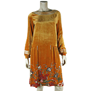 Exceptional French Art Deco Beaded Silk Velvet Dress With Bird Motif And House Of Adair Label
