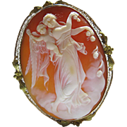 Antique Edwardian 10K Gold Mounted Shell Cameo Pendant Brooch Of Aurora And The Genius Of Light After Thorvaldsen